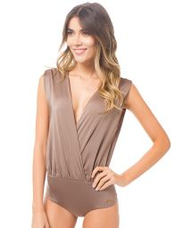 Glossy brown draped crossover bodysuit - FESTIVA STARDUST