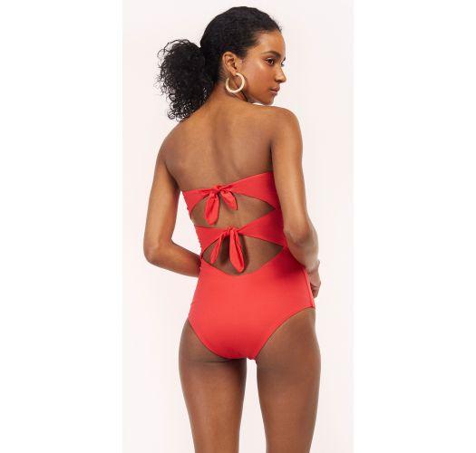 Red / orange one-piece swimsuit with knots - MAIO EURORA GERANIUM RED