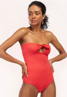 Red / orange one-piece swimsuit with knots - MAIO EURORA GERANIUM RED