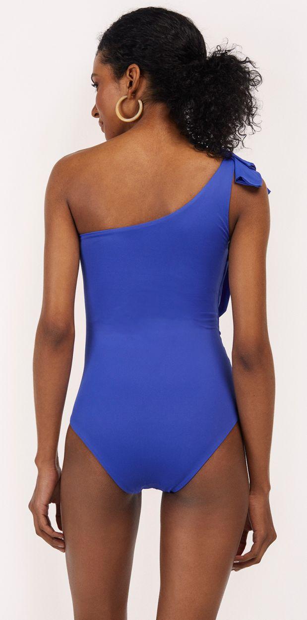 Blue one-piece swimsuit with ruffles - MAIO SALSA KLEIN BLUE