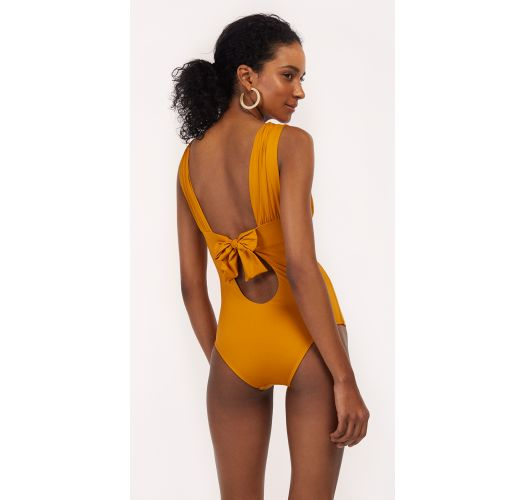 Mustard one-piece swimsuit with a back knot - MAIO TUCAN MELLOW YELLOW