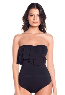Black one-piece bandeau / one shoulder ruffle - MAMBO BLACK NIGHT