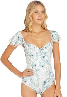 One-piece floral swimsuit with flouncy sleeves - SAMBA BLOSSOM ONE PIECE