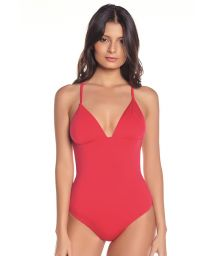 Red one-piece swimsuit with strappy back - SOLAR GERANIUM RED