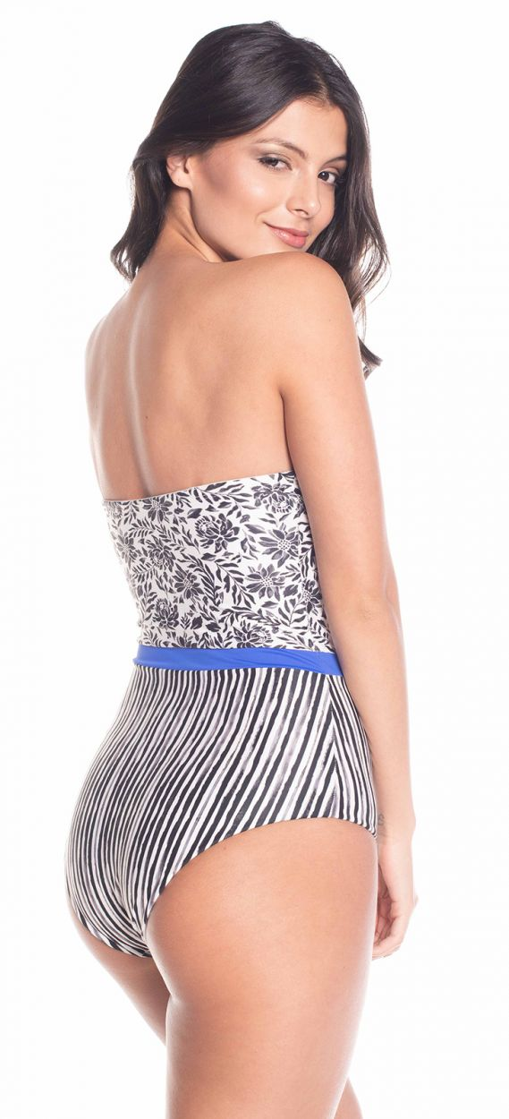 One piece bustier swimsuit in floral and stripped print - WATERLILY