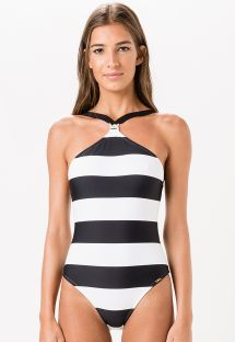 1-piece swimsuit in black and white stripes - ALVINEGRA