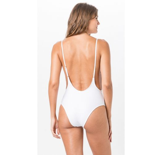 Textured white deep back one-piece swimsuit - BODY LISO CLOQUE BRANCO