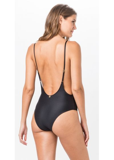 Textured black deep back one-piece swimsuit - BODY LISO CLOQUE PRETO