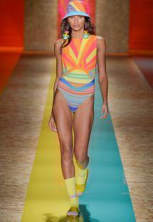 Runway one-piece swimsuit with geometric print pattern - COSTA DO MARFIM