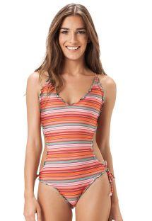 Trikini retro rayado multicolor con bordes ondulados - EL PASO