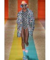 Star print laser cut one-piece swimsuit, runway item - ESTRELA FASHION SHOW