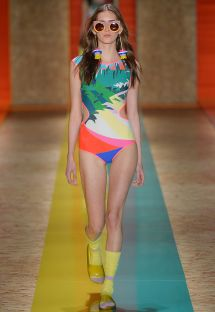 One-piece swimsuit, fluorescent contours - FILIPINAS