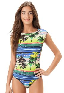 High-necked tropical 1 piece swimsuit - FRANCA