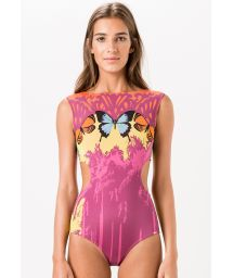 Pink 1-piece swimsuit with butterfly pattern - HIPNOSE