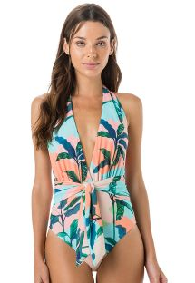 1-piece swimsuit in tropical pastel print - MAILLOT PALA LACO