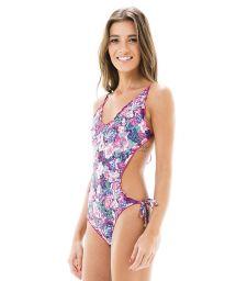 Mauve floral trikini with wavy edges - MAIO KITTY