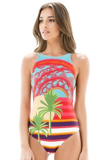 Colourful printed high-neck one-piece swimsuit - MAIO LOCALIZADO SUNSHINE