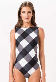 One-piece swimming costume with high neck and large checks - MAIO VARADERO