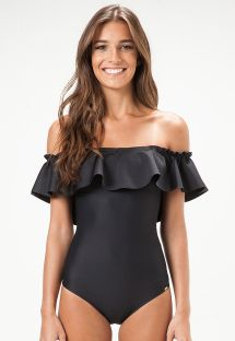 Black one piece swimsuit, Bardot neckline with frill - MINNESOTA