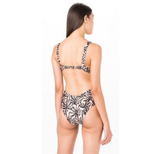 Brazilian V neck monokini in nude print - MONO NUDE TINA