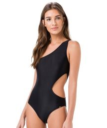 Black asymmetric one-piece swimsuit with cut-out - NATISIA