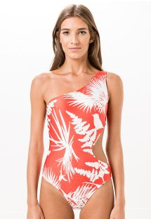1-piece asymmetrical tropical swimsuit in two colours - PASSARINHO