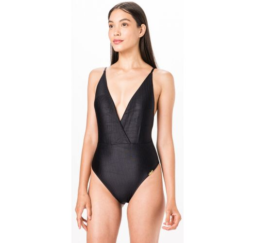 Black ribbed one-piece swimsuit with crossed neckline - PLUNGE PRETO LISO CANELADO