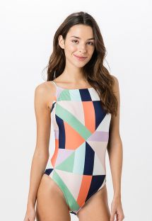 Badedragt fra modeshow med farvestrålende geometrisk print - RETO FLOOR