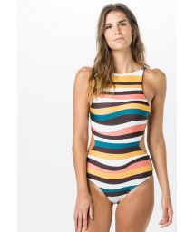 One-piece high-neck swimsuit in colorful stripes - SURPRESA ARETHA