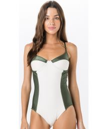 Color block swimsuit with underwire white and green - TACA LISO BICOLOR