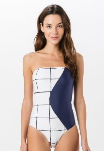 Black and white geometric bandeau swimsuit - TOMARA QUE CAIA GRID