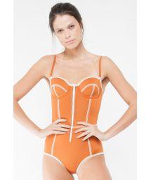 Retro style orange neoprene one piece swimsuit - BIA SOPHIA