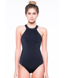 High necked black sport one-piece suit - ENGANA MAMAE