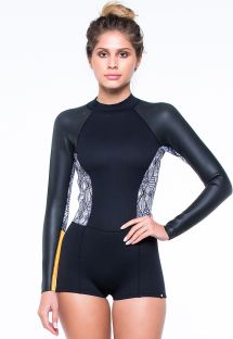 Black/ethnic print neoprene shorty wetsuit - SHORT JOHN LARANJA
