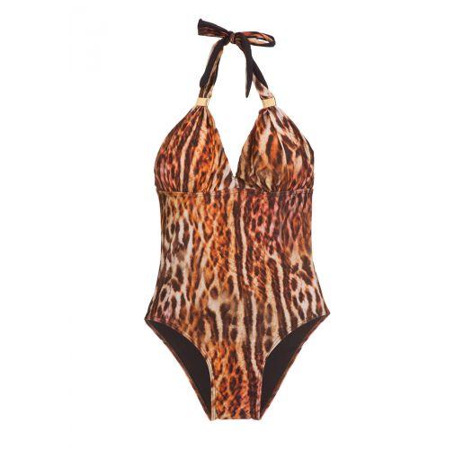 Brown and orange animal print one-piece swimsuit - TUBE ONCA LARANJA