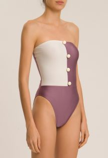 BICOLOR STRAPLESS SWIMSUIT WITH BUTTONS