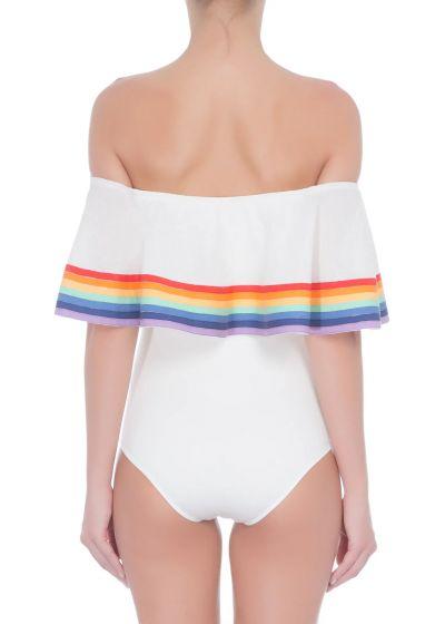 Off-Shoulder-Badeanzug mit Regenbogenstreifen - BEBEL OFF WHITE