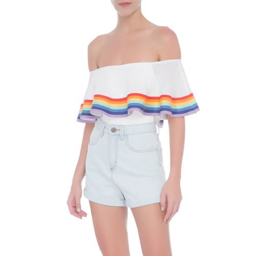 White off-the-shoulder swimsuit with rainbow stripes - BEBEL OFF WHITE