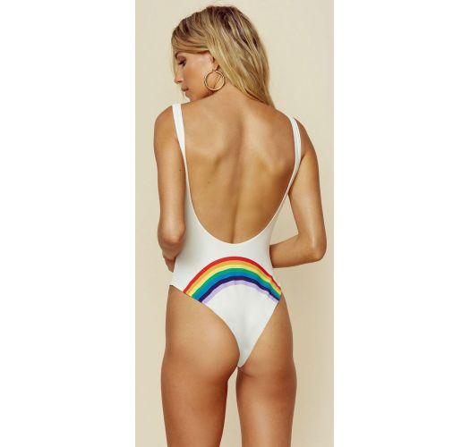 Weißer Badeanzug mit Regenbogenmotiv hinten - CARAIVA RAINBOW WHITE