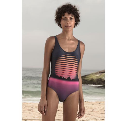 Prachtvoll gemusterter einteiliger Badeanzug - Ariel Retro Future