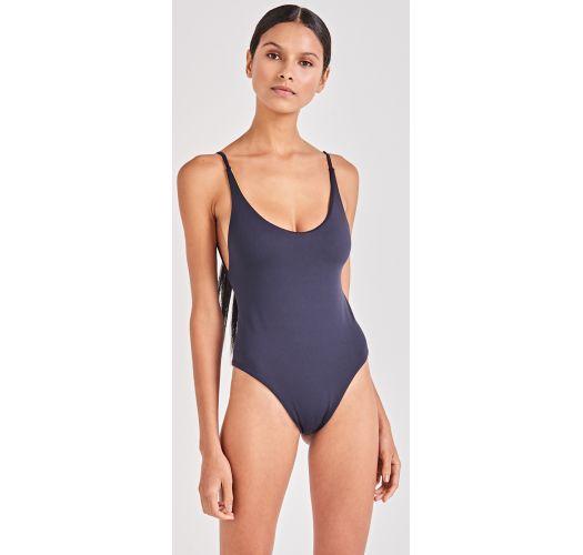 2b36e138851e8 Yellow / Navy Reversible One-piece Swimsuit - Felicity Amarelo - Triya