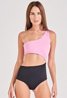 Bicolor asymmetric one-piece swimsuit - ILUSÃO LILAS
