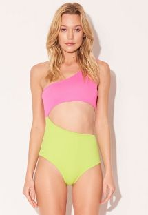 Lime yellow & pink asymmetric one-piece swimsuit - MAIO ASSIMETRICO ROSA