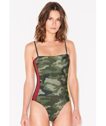 Camo one-piece swimsuit with colorful side stripes - MAIO CAMOUFLAGE