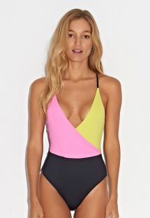 Zwart/roze/geel zwempak - MAIO COLORIDO