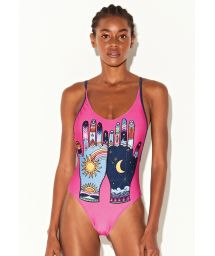 Pink & navy one-piece swimsuit with mystical hands motif - MAIO MYSTIC PINK
