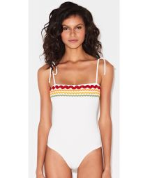 White swimsuit with embroidered colorful braids - MAIO OFF
