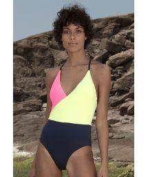 Flashy yellow/pink/navyswimsuit  - MAIO WRAP