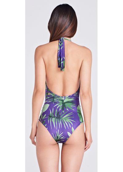 Слитный купальник фиолетового цвета с декольтеи перекрутом - MERGULHO PURPLE