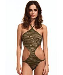 Low-cut khaki trikini, strappy back - MILITAR